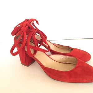 J. Crew Suede Red Chunky Heels w/Tie Detail Italy